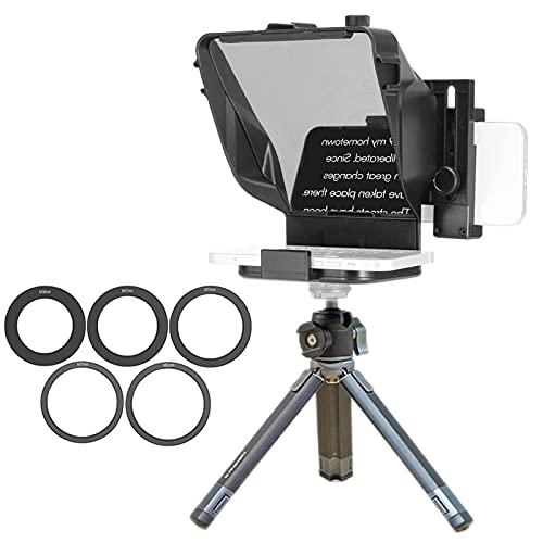 Mini Teleprompter portátil para Youtube Tiktok Video Live Streaming, teléfono móvil, Dispositivo para notificaciones de Voz en Vivo, para cámaras DSLR (Color : For Camera+Phone~with Stand)