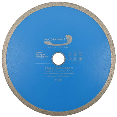 PRODIAMANT Profi Diamant-Trennscheibe PRORIM 250 mm x 30/25,4 mm kein ausbrechen bei glasierten Fliesen Feinsteinzeug Keramik mit Bohrung 30mm und Ring auf 25,4mm