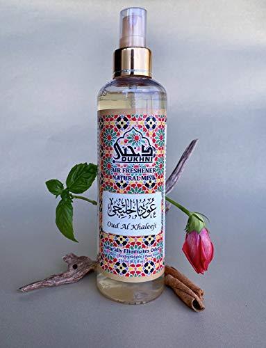 Dukhni Oud Al Khaleeji Attar Faraash 250 ml – Ambientador de aire no alcohólico y spray lino. Perfecto para alfombra oración, ropa casa, rociar en la habitación tejidos. 100% libre halal alchohol.