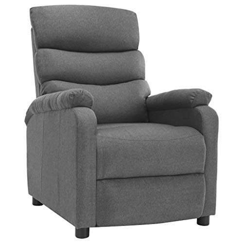 vidaXL Relaxsessel Verstellbare Rückenlehne Fußstütze Fernsehsessel TV Sessel Ruhesessel Polstersessel Liegesessel Lounge Hellgrau Stoff