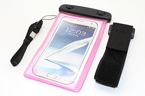 """NorthLogic """"Pink"""" Universal Waterproof Pouch Bag Case Cover for iPhone 5S / iPhone 5 / iPhone 4S / iPhone 4 / Samsung Galaxy S3 / Galaxy S4 / Galaxy S5 / Note 2 / Note 3 Smartphones With Screen Sizes Up To 5.7"""" Waterproof Pouch Bag Case Cover For Cellphones , Best For Swimming, Jogging or Outdoor Activities, Included Armband and Neckstrap"""