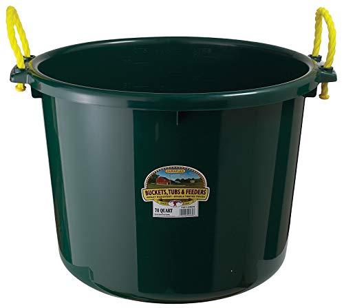 Little Giant Plastic Muck Tub (Green) Durable & Versatile Utility Bucket with Handles (70 Quart) (Item No. PSB70GREEN)