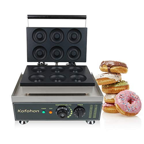 Commercial Donut Maker 6 Holes Stainless Steel Electric Doughnut Machine 110V Use for Bakery,Dessert Shop,Mall,Coffee Shop and Restaurant