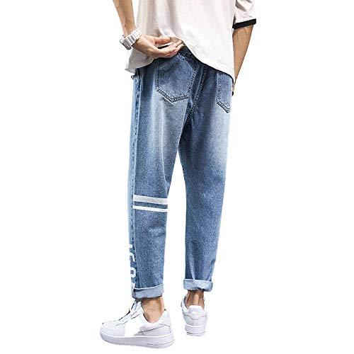 Generic Herren Jeans Mode Lose koreanische Version der All-Match-Persönlichkeit drucken Anhänger breites Bein Retro Cropped PantsXX-Large