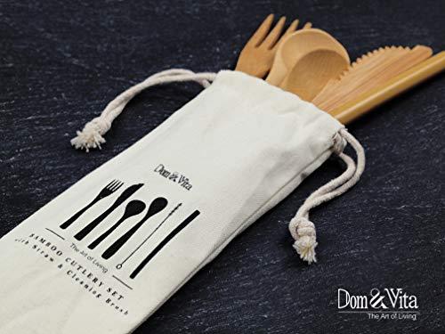 Dom&Vita Bamboo Travel Utensil | Organic Reusable Bamboo Cutlery Set + Bamboo Straw + Cleaning Brush + Cotton Storage Bag |Bamboo Fork Knife Soup Tea Spoon|Camping Lunch Box Utensils Flatware Set (1)