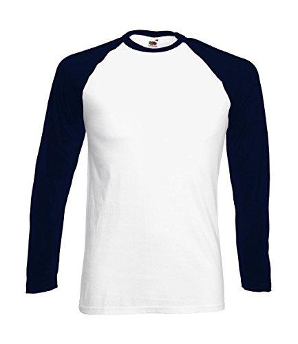 Fruit of the Loom Baseball Langarm ( Longsleeve ) T-Shirt S M L XL XXL Weiss - Navy,L