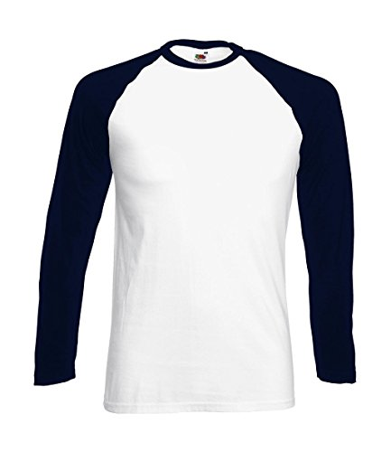 Fruit of the Loom Baseball Langarm ( Longsleeve ) T-Shirt S M L XL XXL Weiss - Navy,XL