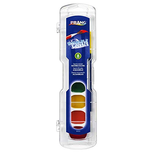 PRANG Washable Watercolor Paint Set, 8 Classic Colors with Brush, 1-Pack (80525)