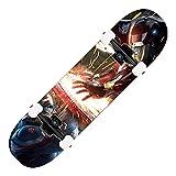 ZASX Tabla Completa de Skate de 31x8 Pulgadas,con rodamientos de Bolas ABEC-7,Capitán América contra Iron ManMadera de Arce de8capas Adecuada para niños,Adolescentes y Adultos,con un Peso de 150 kg.