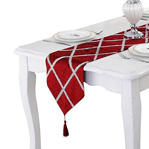 Bettery Home - Camino de Mesa con borlas para decoración de Bodas, Navidad, Fiestas, 28 x 82 cm, Color Rojo