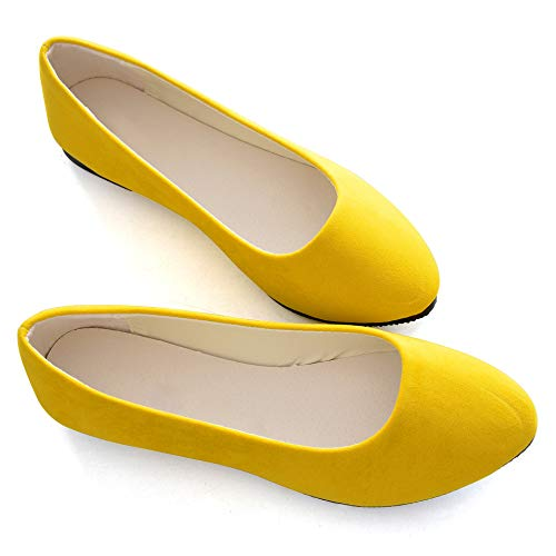 Stunner Women Cute Slip-On Ballet Shoes Soft Solid Classic Pointed Toe Flats Apricot Yellow 39