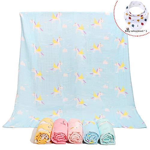 Chickwin Baby Musselin Babydecke Kuscheldecke, Superweich Baumwolle Kinderdecke Krabbeldecke Perfekt für Kinder et Baby Kinderwagen und Babyschale (Pegasus auf blau,125 * 125 cm (2 Schichten))