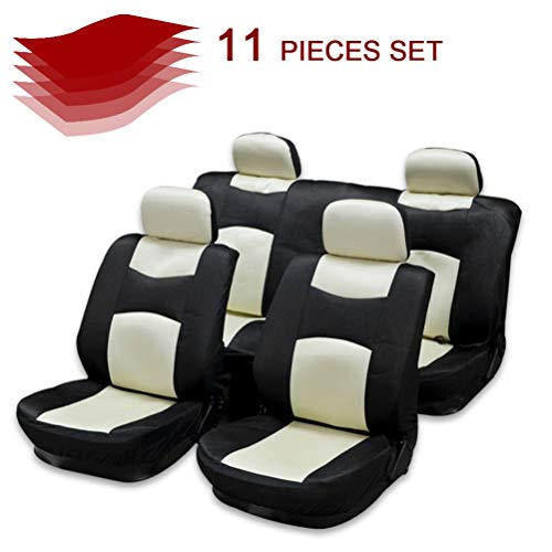 cciyu Seat Cover Universal Car Seat Cushion w/Headrest Covers/Steering Wheel/Shoulder Pads - 100% Breathable Car Seat Cover Washable Auto Covers Replacement fit for Most Cars(Black/Beige)