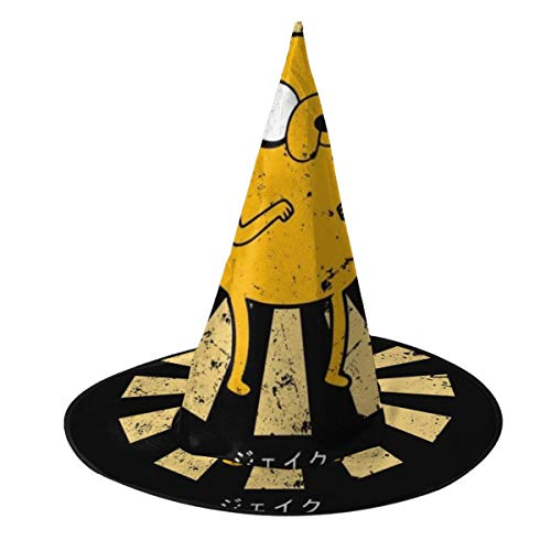 OJIPASD Sombrero de bruja japons retro de Jake The Dog para Halloween, unisex, para vacaciones, Halloween, Navidad, carnavales, fiestas