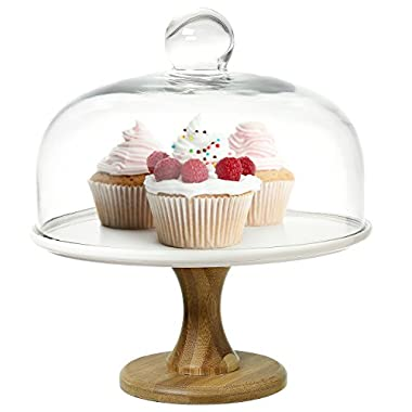9 Inch Round Wood & White Ceramic Pedestal Dessert Cake Stand, Serving Platter with Clear Glass Dome Lid