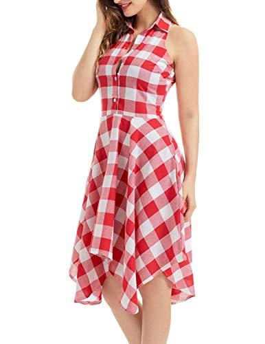 JENJON Vestido Verano Mujer Largos con Cuadros Sin Mangas Elegante Camiseta de Vestido Rockabilly Fiesta Vintage Rojo S