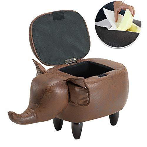 CHQYY Sillas- Forma Animal Reposapiés acolchado otomanos Cojín Reposapiés Puf Taburete respaldo del asiento del sofá Silla (gris elefante) (Color : Marrón)