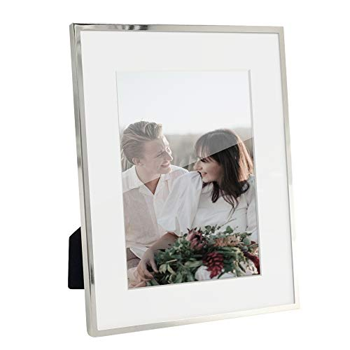 Afuly Silber Bilderrahmen Metall 18x23 oder 13x18 mit Passepartout Portraitrahmen Tabelle oder Wand