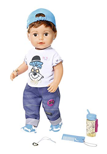 Zapf Creation 827826 BABY born Soft Touch Brother Puppe mit lebensechten Funktionen und Zubehör, bewegliche Gelenke und Soft-Touch-Oberfläche, 43 cm, Online Verpackung