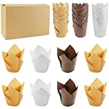 Wpxmer 150 Pieces Tulip Baking Paper Cups Cupcake Muffin Liners Baking Cup Holder for Party,Weddings Brown Natural and White Color