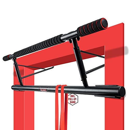 PullBull – Profi Klimmzugstange – Bis zu [200kg] – Für Türrahmen ohne Schrauben – Pull Up Bar für Tür – rutschfeste Griffe – Klimmzug Stange Home Gym