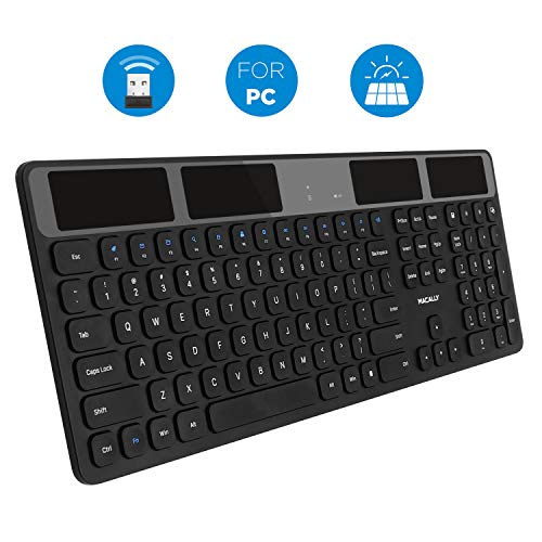 Macally Wireless Solar Keyboard for PC Computer Desktop, Laptops/Notebooks - Windows...