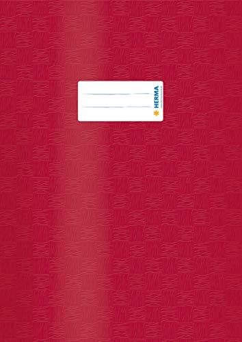 HERMA 7450 Sobres DIN A4 rafia, fundas para cuadernos con etiqueta y estructura de rafia, de polipropileno resistente y lavable, juego de 25 protectores para cuadernos escolares, color rojo vino