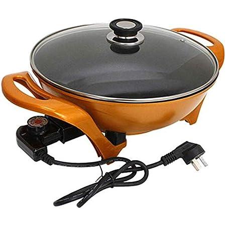 Polyvalent Pot Wok électrique Pot Lingot antiadhésif Pot d'or marmite électrique cuisinière électrique Hot Pot Noodle Pot Un Pot 5L, 1500W, Orange