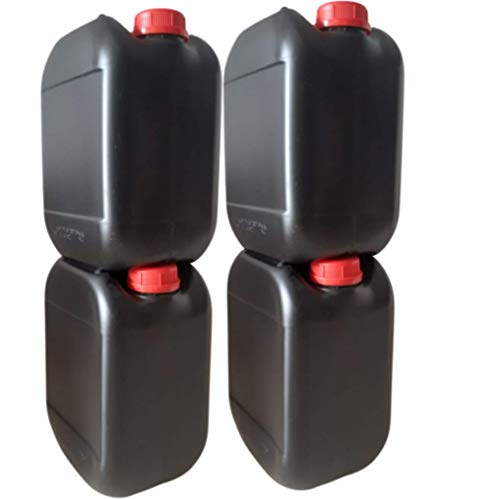 4 Garrafas bidones plástico 10 litros Negra homologado ADR boca ancha ideal para agua gasolina químicos depósito aire acondicionado camping furgoneta camper