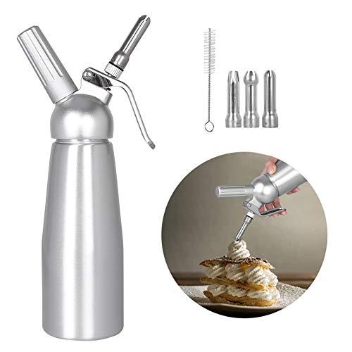 Sifon Cocina Espumas 500ML, Profesional Dispensador de Nata Sifón Cocina de 3 Boquillas de Acero Inoxidable y 1 Cepillo de Limpieza, Hace Crema Helado y Mucho Más