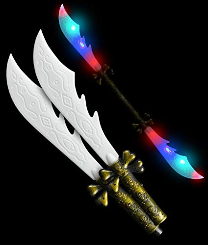 35 Inch LED Light Up Double Pirate Sword Toy with Skull Bones Handle for Kids' Halloween and Pirate Themed Party Accessory