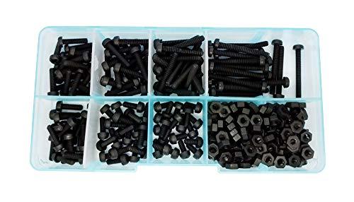 Guard4U 280pcs Metric M3 7-Sizes Nylon Standoff Screw Nut Assortment Kit,Screw M3x 6mm 8mm 10mm 12mm 15mm 20mm 25mm, Nut Hex M3 (Black)