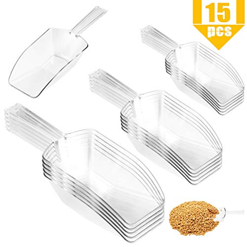 Faxco 15 Pieces Clear Acrylic Kitchen Scoops Multi-purpose Plastic Scoops for Wedding, Candy, Powders, Ice Cream, Sugar, Tea (3 sizes, each size 5pcs)