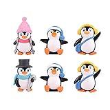 Yardwe - 6 pingüinos de Invierno, Adornos en Miniatura, Figuras Bonsai Micro Paisaje, casa, jardín, árbol de Navidad, decoración de Año Nuevo