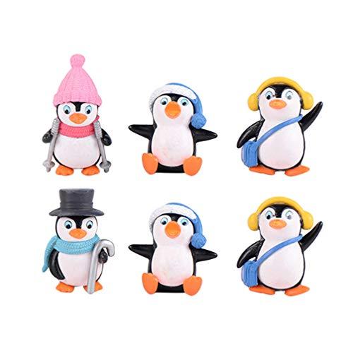 Yardwe Lot de 6 Figurines de Pingouin Hivernal Miniature Bonsai Micro Paysage Maison Jardin Sapin de Noël Décoration Nouvel an