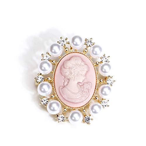 CYPZ Broche de Perlas de 2 Piezas, Ramillete Redondo para Mujer, Chaqueta, cárdigan, Hebilla, Temperamento, Azul Retro