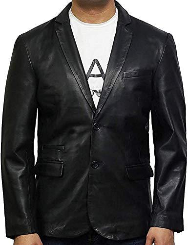 BRANDSLOCK Abrigo Blazer de Cuero Genuino de Piel de Cordero para Hombre Vintage Ligeramente Encerado (Negro, S)