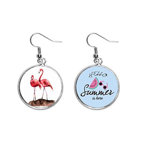 Flamingo pareja rojo amor Art Deco regalo moda oído gota verano sandía pendiente desgaste