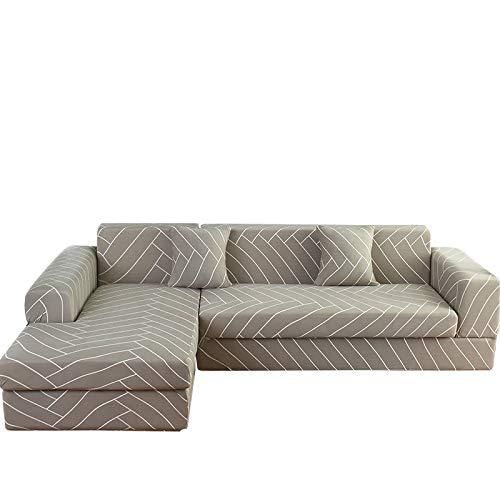 Sofabezug Sofaüberwürfe Hussen,Stretch All-Inclusive Sofa Cover Plain Linie Couch-Abdeckung, L Form Corner Slipcover Arm Kombiniert Vier Jahreszeiten Universal Furniture Protector, 1, Sitz 90,140C
