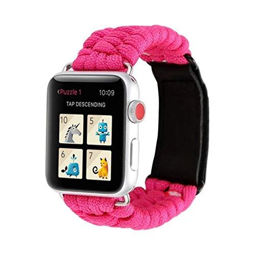 Correa de cuerda de supervivencia para exteriores para Apple Watch Band 44 Mm 40mm 42mm 38mm Cuero para IWatch Pulsera para Apple Watch Series 5 4 3 44mm-Pink Red, 42mm or 44mm