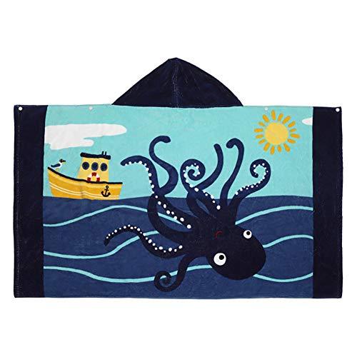 Badeponcho Kinder Kapuzenbadetücher Handtuch mit Kapuzen Baumwolle Kapuzenhandtücher Badetuch Bademantel Strandtuch für Schwimmen Mädchen Jungen Baby Weich Warm Trocknend Cartoon (Krake)