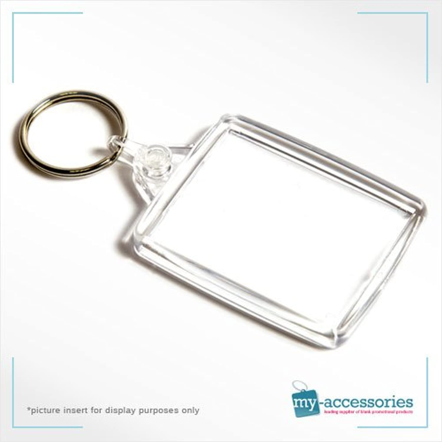 Blank Keyring Keychain w  (CLEAR) Linking Ring for Business Promotion   Gifts - Plastic 45x35mm (A502) - Pack of 100