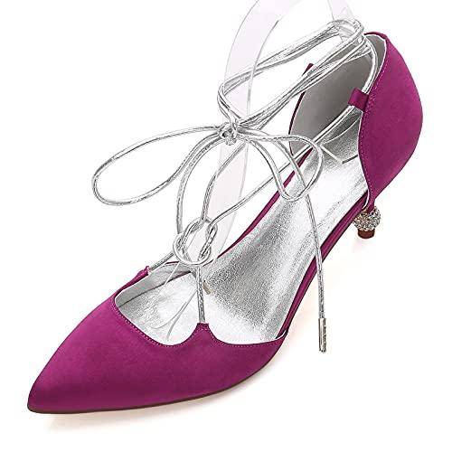 Mujeres Bombas Punta Cerrada Tacones Bajos Prom Cinta De Satén Corbata Zapatos De Fiesta De Boda para Novia,Púrpura,38 EU