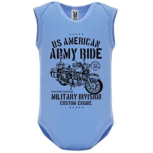 LookMyKase Body bébé - Manche sans - Army Ride - Bébé Garçon - Bleu - 9MOIS