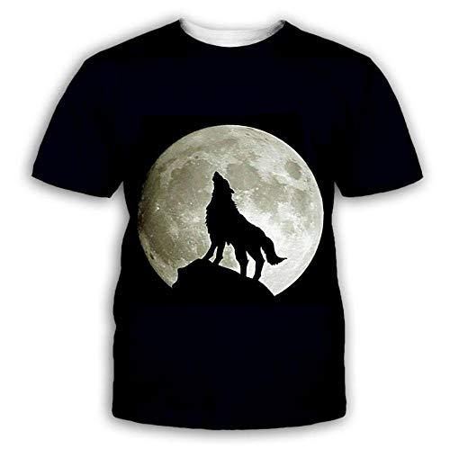 Luna Lobo Aullando Camisetas Informales De Manga Corta con Cuello Redondo Y Estampado Casual para Hombre Tops,4XL