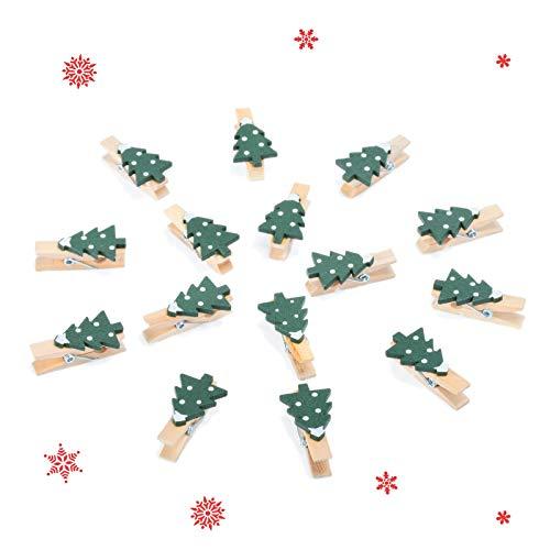 KATELUO Mini Pinzas de Madera,50 pcs Pinzas de Madera,Ropa Mini Pinzas Decorativas,para Fotos, Adecuado para decoración de Clip navideño, Regalo fotográfico, diseño de Tarjetas. (árbol de Navidad)