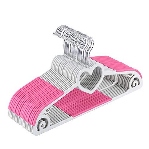 Yoassi Set di Grucce Appendiabiti con Gancio Rotante di 360°per Adulti/Grucce Antideformazione Antiscivolo in ABS Plastica per Completi Abiti Pantaloni Vestiti Cravatta 20 Pezzi Pink Forma Cuore