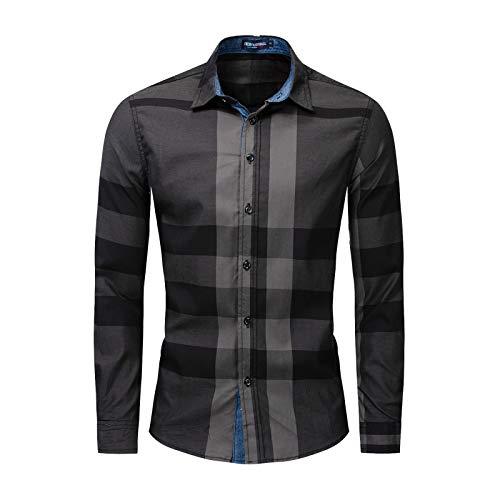 Camisas de Bloque de Color a Cuadros para Hombre Solapa Manga Larga Cómodo Versátil Casual Trabajo de Oficina Camisas de Ajuste Regular S