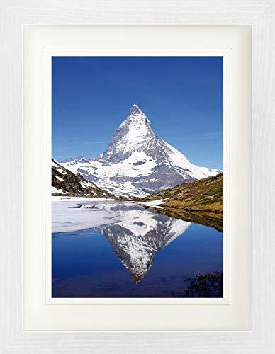 1art1 Berge - Matterhorn Mit Riffelsee Gerahmtes Bild Mit Edlem Passepartout | Wand-Bilder | Kunstdruck Poster Im Bilderrahmen 40 x 30 cm