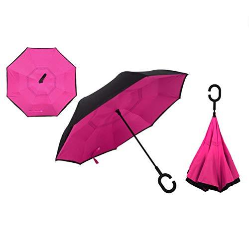 MAWA Paraguas invertido de Doble Capa a Prueba de Viento, autoportante por Dentro y por Fuera, a Prueba de Lluvia C-Hook Rider - Rose